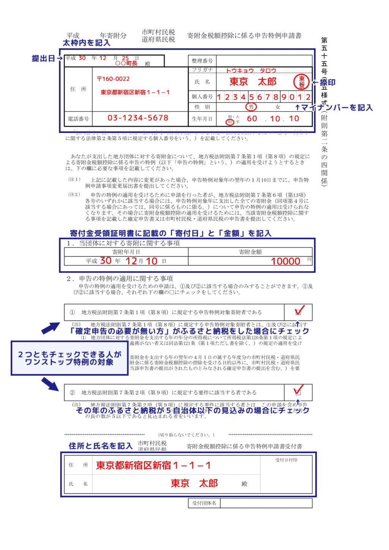 ワンストップ特例申請書の書き方